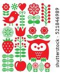 finnish inspired folk art...   Shutterstock .eps vector #521846989