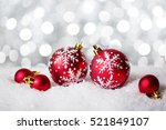 red christmas baubles on the...   Shutterstock . vector #521849107