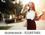 busy businesswoman in rush ... | Shutterstock . vector #521857681