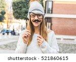 caucasian girl having fun... | Shutterstock . vector #521860615