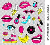 fashion patch badges with lips  ... | Shutterstock .eps vector #521860669