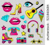 fashion patch badges with lips  ... | Shutterstock .eps vector #521860684