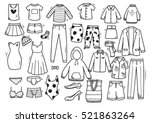 hand drawn clothing doodle set... | Shutterstock .eps vector #521863264