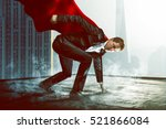 superhero on a roof | Shutterstock . vector #521866084