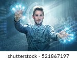 man working on a touchscreen... | Shutterstock . vector #521867197