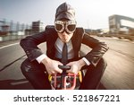 business man on a pedal car | Shutterstock . vector #521867221