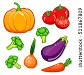vegetables vector set. patch ... | Shutterstock .eps vector #521867809