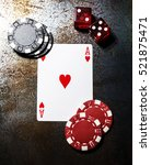 Small photo of Poker play. Ace of hearts. Poker chips and dice.