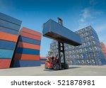 forklift truck lifting cargo... | Shutterstock . vector #521878981