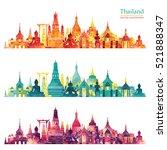 thailand detailed skyline.... | Shutterstock .eps vector #521888347