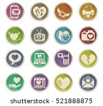 love web icons on color paper...   Shutterstock .eps vector #521888875