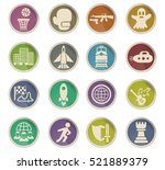 game genre web icons on color... | Shutterstock .eps vector #521889379