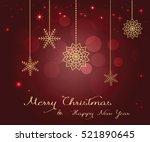 shining gold christmas card on...