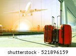 stack of traveling luggage in... | Shutterstock . vector #521896159