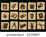 desk icons on crumpled paper | Shutterstock . vector #5219005