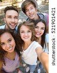 happy friends taking selfie on... | Shutterstock . vector #521901421
