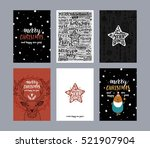set of merry christmas cards.... | Shutterstock .eps vector #521907904