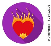 Heart In Flame Icon In Flat...
