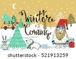 hand drawn santa .merry... | Shutterstock .eps vector #521913259