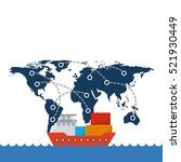 cargo ship with container over... | Shutterstock .eps vector #521930449