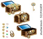 treasure chest decorated... | Shutterstock .eps vector #521931859