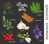spices and herbs vector set to... | Shutterstock .eps vector #521933659
