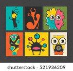 set of six retro postage s... | Shutterstock .eps vector #521936209