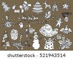 merry christmas design set ... | Shutterstock .eps vector #521943514