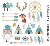 set of tribal indian elements... | Shutterstock .eps vector #521944909