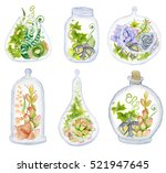 cactus and succulent set with... | Shutterstock . vector #521947645