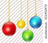 colorful christmas balls. set... | Shutterstock .eps vector #521953975