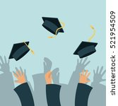 hands of graduates throwing... | Shutterstock .eps vector #521954509