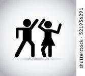 happy couple dancing over white ... | Shutterstock .eps vector #521956291