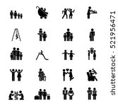 icons set of family with sons... | Shutterstock .eps vector #521956471