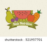 colorful fruits and green... | Shutterstock .eps vector #521957701