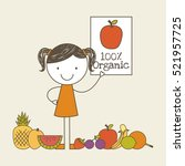 happy girl with healthy fruits. ... | Shutterstock .eps vector #521957725