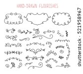 vector set of doodle frames and ... | Shutterstock .eps vector #521958967