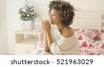 calm adult in sweater sipping... | Shutterstock . vector #521963029