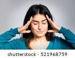 beautiful woman headache ...   Shutterstock . vector #521968759