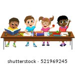happy diligent kids or children ... | Shutterstock .eps vector #521969245