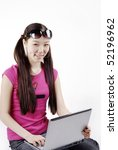 a smiling girl with laptop | Shutterstock . vector #52196962