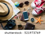 travel accessories costumes.... | Shutterstock . vector #521973769