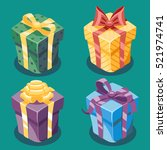 gift box new year and cartoon... | Shutterstock .eps vector #521974741