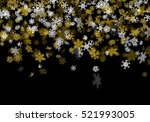 snowfall background with golden ... | Shutterstock .eps vector #521993005