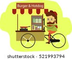 sellers burger and hotdog carts ... | Shutterstock .eps vector #521993794