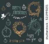 hand drawn christmas decoration ... | Shutterstock .eps vector #521995051