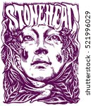 woman head on the marijuana... | Shutterstock .eps vector #521996029