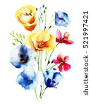 decorative wild flowers ... | Shutterstock . vector #521997421