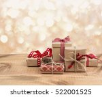 Christmas Gift Boxes On Wooden...