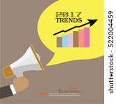 2017 trends.hand with megaphone ... | Shutterstock .eps vector #522004459